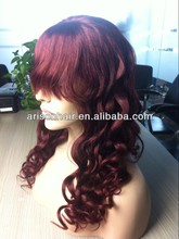 glueless color 99j human virgin hair wig top silk front lace with bang