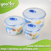 Plastic Kitchen Ware Microwavable Food Container Set in Round