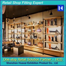 High Grade Led Light Decorative Plexiglass Female Shoe Display Showcase Design