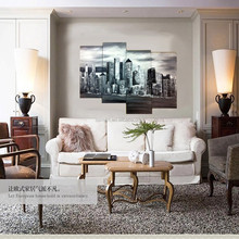 China Shenzhen Oil Painting Village Factory Supply Handmade Abstract Black And White City Building Oil Painting On Canvas