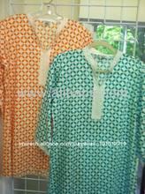 Impreso de túnicas de algodón kurtis/kurtas mejor indio impresiones de pantalla damas túnicas coton tunica blusa vestidos