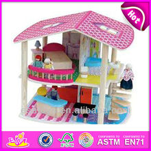 2015 New kids wooden house diy doll toy,popular wooden house diy doll set and hot sale wooden diy toy doll furniture WJ278718