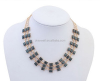 N142 Statement necklace 2015 Resin jewelry making Stock wholesale online Gold necklace jewelry Free shipping Epoxy resin jewelry