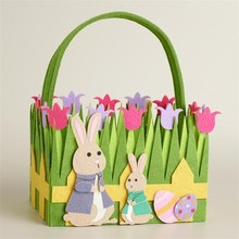 Easter felt grass baskets with bunny and flowers ,Easter egg hunting basket