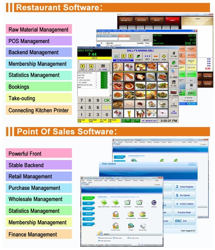 Производитель Pos Все В Одном Пос Системы С Ресторан Pos Программное Обеспечение IPOS08