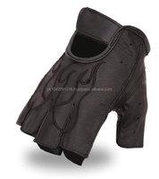 Classic Men's Fingerless Leather Gloves, Gel Padded.