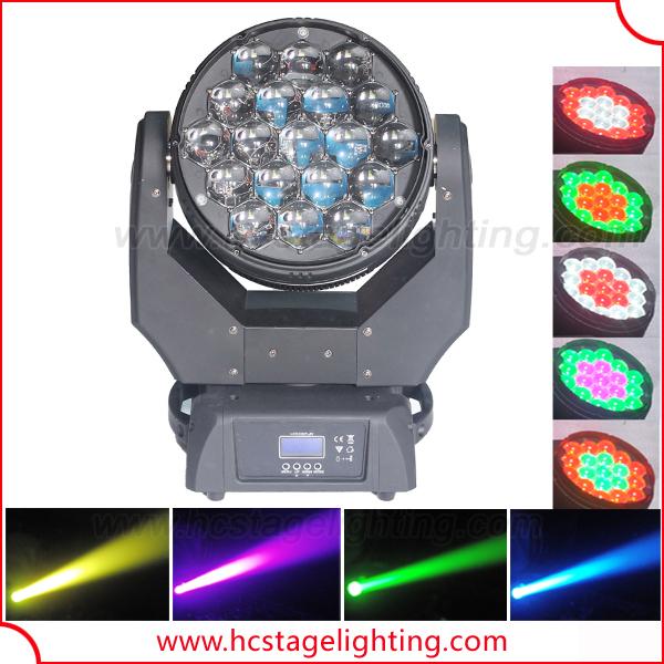 Оптовая увеличить 19x15 Вт led rgbw 4in1 moving головной луч света
