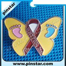Wholesale personalized cheap custom butterfly with ribbon and foot shape lapel pin with clutch