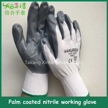 13 needle Polyester custom Nitrile coated on the palm working gloves/EN388