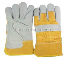 yellow leather work gloves , AB/BC double palm and reinforced cow split leather working gloves manufacturer in China