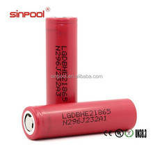 Huge stock! 2500mah LG he2 18650 battery rechargeable li-ion battery lithium polymer batteries electric car