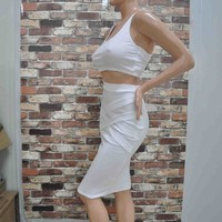 New Summer White Bandage Bodycon Sexy Knee Length Pencil Dress Party Night Club Dresses two piece outfits women