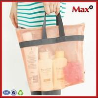 Max+ High Quality Cosmetic Mesh Bag 2015 HOT Fashion Nylon Tote Travel Beach Bag Wholesale