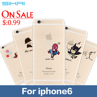 Best Quality For iPhone6 6S Ultra Thin Cartoon Half Transparent TPU Cases Cover