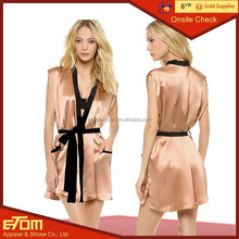 wholesale Short Design Embroidered Women Personalized Satin Robe