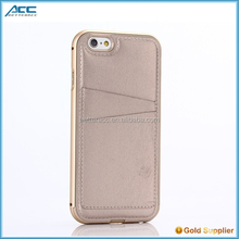 Luxury Leather Back Case+Aluminum Metal Protective Bumper Cover for iPhone 6/6s/6 Plus