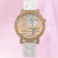 2015 Summer Newly Design Fashion Eiffel Tower Watches for Women Vogue Bracelet Ceramic Wrist Watch