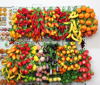 Artificial Green Chili String Hanger-Lifelike Artificial Fruits Vegetables String Chili Pepper Simulation Fake Food