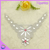 hot fix stone collar neck design for garment accessories