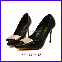 SR-15WHE1584 new fashion pictures of women in high heel shoes black pu ladies high heel shoes star style pencil high heel shoes