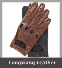 Men's Brown Leather Car Driving Gloves Open Back with Air Holes