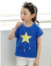 2015 New Design Girls Beautiful Cute Clothing Nova Kids Cartoon Embroidery Star T-Shirt