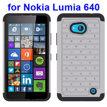 Hot items Silicone and PC Hybrid bling phone case for Nokia lumia 640