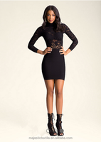 latest fashion ladies sexy black cord lace casual dress designs