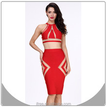 New fashion bandage dress bodycon red ladies top dresses two piece girls party dresses 2015