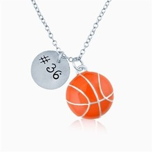 Wholesale zinc alloy enamel basketball and #36 number sports charms necklace for men