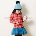 Vestido de manga larga muchacha de los niños del otoño, niños parttern algodón Tops / Capas Multi Tulle mini faldas, ropa al por mayor de 3-8 años.