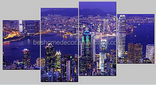 city light canvas art,cotton art canvas,4 panels canvas wall art