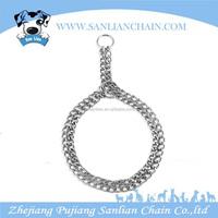 2015 fashion heavy duty double row metal dog training chain collar