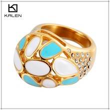 hot sale colorful crystal stone golden stainless steel rings for women