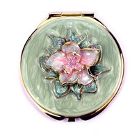 Wholesale compact mirror, Flower round compact mirror ,Jeweled cosmetic mirror