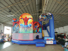 CE Cheap Commercial Inflatable Castle Hero Jumping House Bouncer Moonwalk with Cartoon Characters for adults and kids