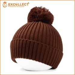 High Quality Cheap Knitted Beanie Hat With Top Ball/Pompom Beanie Hats Wholesale
