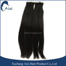 Hight quality Malaysian human hair long balck tape hair extension weft