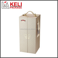 Elegant double open paper made wine box with PU leather handle