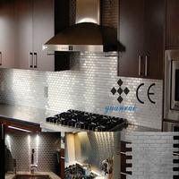 in stock backsplash silver stainedless steel metal mosaic Foshan wall tile