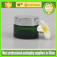 Hot sale 50ml spray square or round glass cosmetic facial packaging cream jar with silver lid made in China free samples