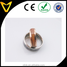 18k gold plated double band wood inlay ring,dome finish gold court ring for men new gold ring models for men