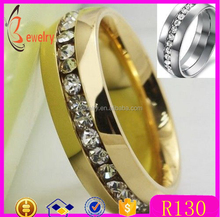 china wholesale alibaba 316L Stainless Steel Rings with stones fashion 18k gold Wedding rings for women jewelry