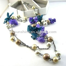 Imitate pearl and fabric flower necklace