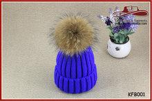 Royal Blue Winter Wool Hat Faux Fur Ball Hat Knit Warm Ski Cap