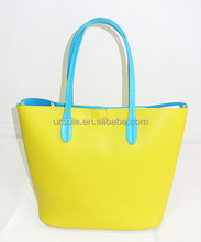 YH-5152 For SS2015 simplest ladies handbag contrasted handle shopper bag