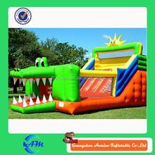 crocodile image inflatable slide jump bed for sale