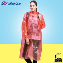 adult fashion creative long PE, LDPE disposable raincoat