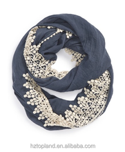 new fashion solid color polyester infinity scarf trimmed with lace