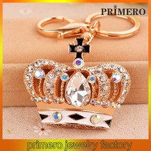 PRIMERO European and American metal car keychain bag pendant Crystal Crown blue diamond key chain